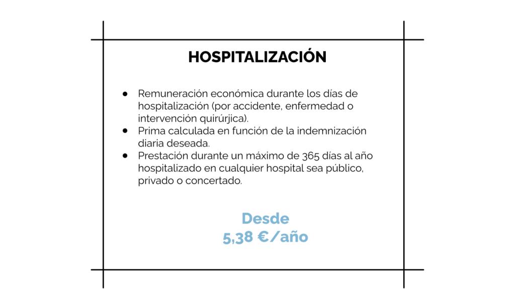 tarifas seguro de hospitalización